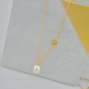 Tory Burch Delicate Pearl Logo Necklace
